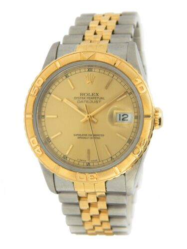 Rolex Datejust Turn-o-graph 16263 Mens 18k Yellow Gold & Steel Thunderbird Watch