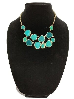 Teal Statement Necklace On Gold Tone Chain. Plastic Teal Beads. Gold Toned Beads
