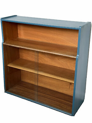 Mid Century Modern Display Cabinet, Bookcase With Sliding Glass Doors. Repainted