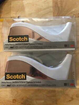 Scotch Rose Gold Chrome Desktop Tape Dispenser Wtapenew In Boxset Of 2
