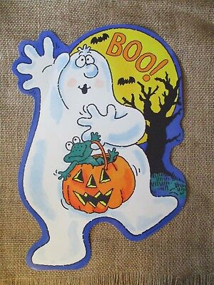 1988 HALLMARK 2 SIDED WINDOW DECORATION~BOO GHOST W/FROG IN PUMPKIN~GREAT COLOR - Great Pumpkin Halloween Decorations