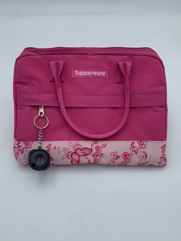 Tupperware Ladies Fashion Lunch Bag Pink Butterflies Insulated Collapsible