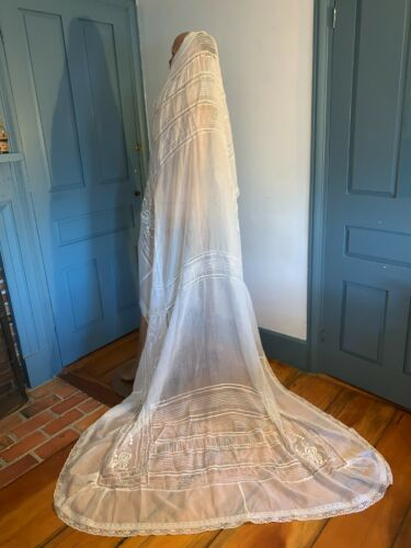 Antique Mixed Lace + Embroidered White Coverlet Bedspread Ethereal Wedding Veil