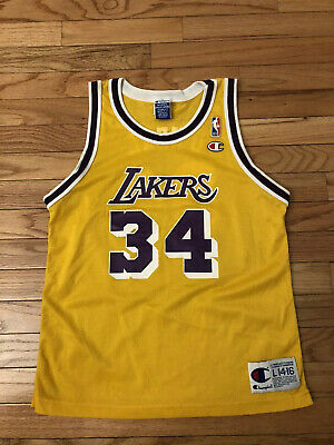Shaquille O' Neal Los Angeles Lakers NBA Vintage Champion Jersey Youth Size L