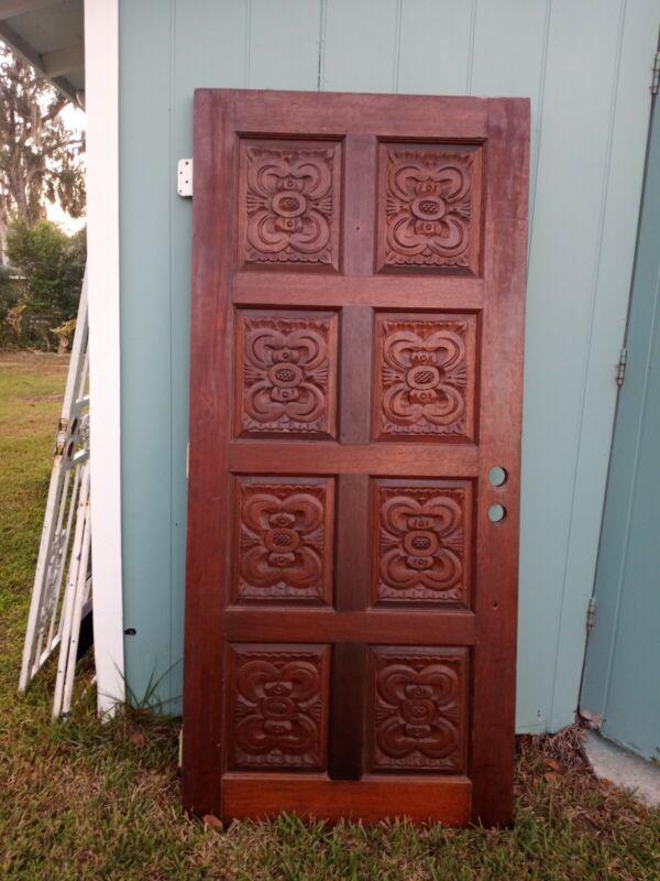 Beautiful Antique Exterior/ Interior 8 Panels Hand Carved Solid Wood  Door