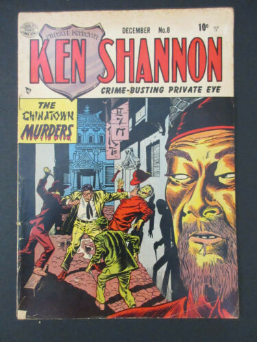 KEN SHANNON #8 THE CHINATOWN MURDERS GOLDEN AGE QUALITY COMICS 1952 VG-