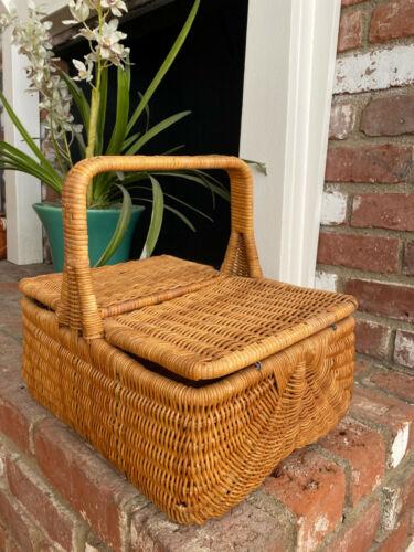 Beautiful Vintage Wicker Basket w/Handle French? Market Gathering Sewing Picnic