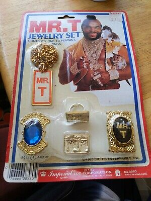 Vintage Mr T A-Team Show Jewelry Set Toy Ring Necklace Pendant 1983 NEW B1