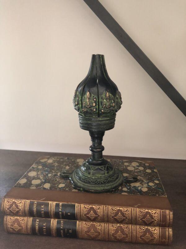 """6"""" Antique Old Chinese Bronze Lotus Leaf Incense Burner Censer, Mechanical"""