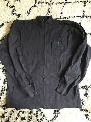 blue nautica polo top with long sleeves LARGE 100% cotton