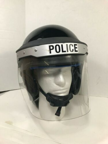 UK POLICE RIOT HELMET WITH SHIELD SIZE 4 (XL) used