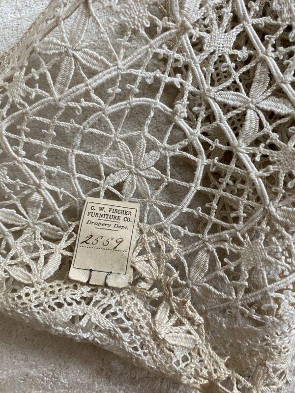 "Antique Tuscany Filet Lace Original Tags Trim Ecru 37"""