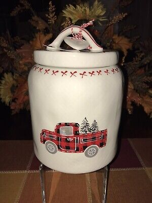 CHRISTMAS RED TRUCK JAR CANISTER 10 STRAWBERRY STREET NORTH POLE BED BREAKFAST