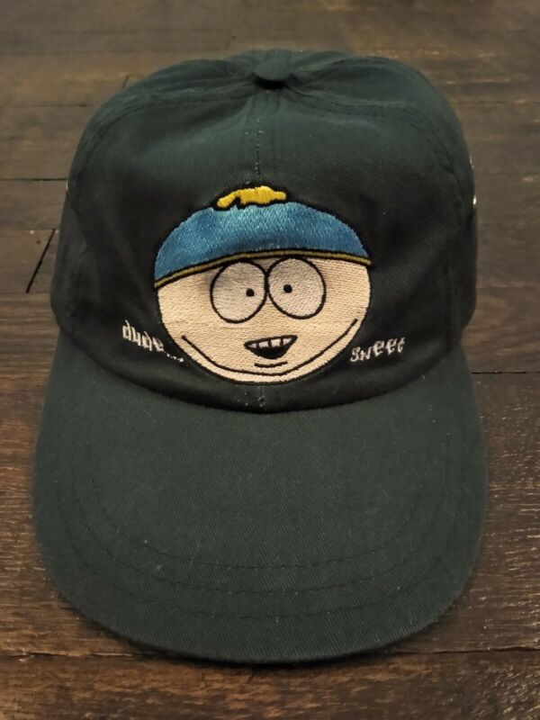 Vintage 1998 South Park Comedy Central Cartman Dude Sweet Green Strapback Hat