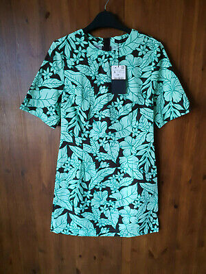 ZARA SHIFT DRESS Green & Brown Floral Print 100% Cotton Summer XS S / 8 10 - NEW