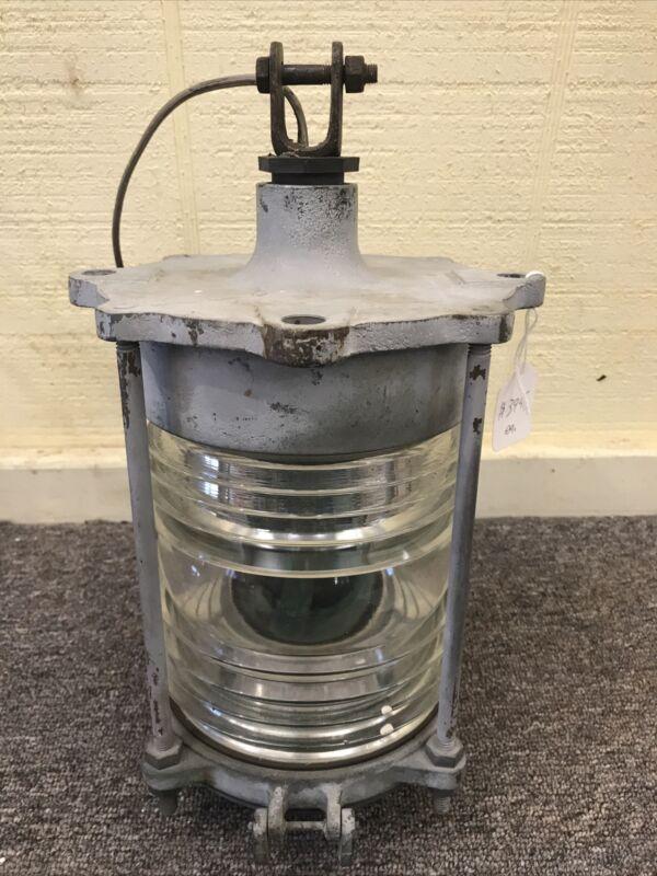 "Modern Metal NY Marine Boat Ship Lantern Bronze 5.75"" Diameter Fresnel Glass"