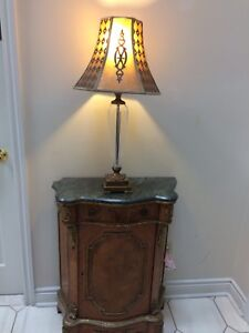 Marble glass copper lamp