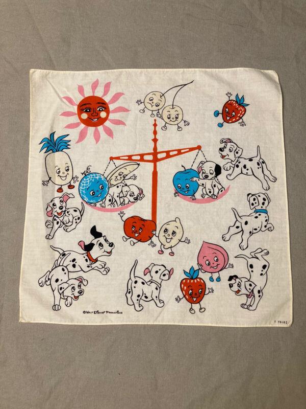 Vintage Walt Disney Productions Dalmatians Fruit Scale Scarf Handkerchief 12 3/4