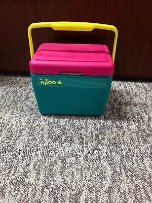Vintage Igloo 6 Neon Pink Teal Ice Chest Retro Beach Cooler