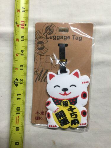 Japanese White Maneki Neko Good Luck Lucky Cat Travel Luggage Bag Tag New