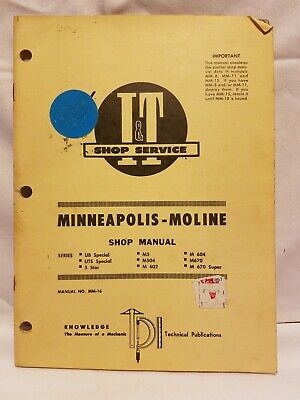 Minneapolis-moline It Service Shop Manual Series Ub Uts Special 5 Star M5 M 602