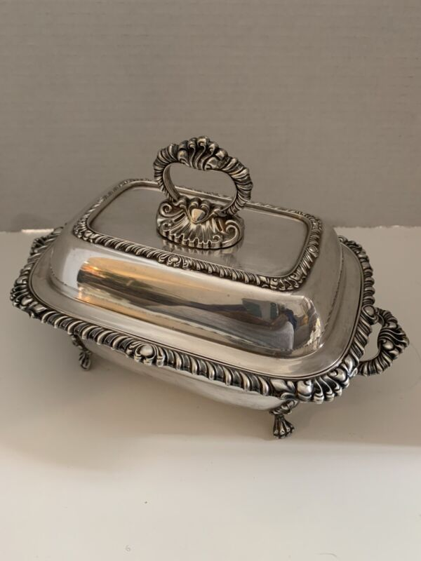 Very Nice Vintage Silver Plate Footed Covered Butter Dish