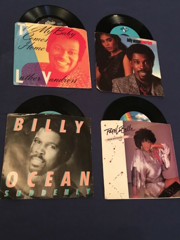 R&B 45 Records Lot Of 4 with Sleeves And Vinyl-LaBelle-Vandross-Billy Ocean