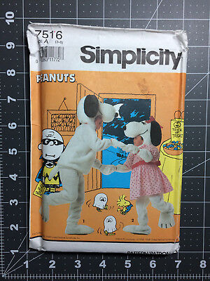 Simplicity #7516 ~ Costume Pattern Peanuts Snoopy Belle ~ Child's 3 - 8 FF / UC](Snoopy Costume Pattern)