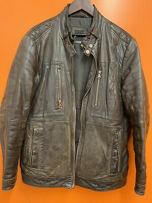GENUINE HUGO BOSS BROWN Leather Biker Style DESIGNER Coat / Jacket SIZE UK 52