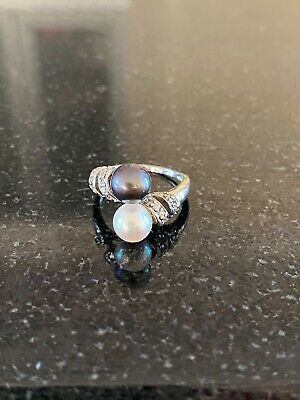 Silver Pearl Ring With Cubic Zirconia