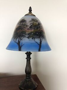 Pretty Lamp with hand painted Glass Shade