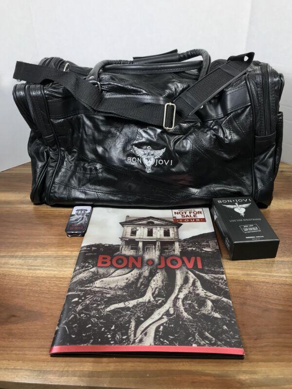Bon Jovi Tour Souvenir Lot Leather Bag Duffle/Photobook/USB Wristband/Guitarpick