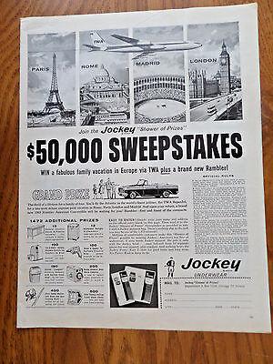 1962 Jockey Underwear Ad Sweepstakes  1963 Rambler