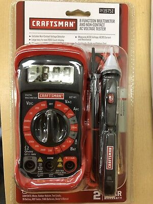 Craftsman 8 Function Digital Multimeter Kit With Ac Voltage Detector