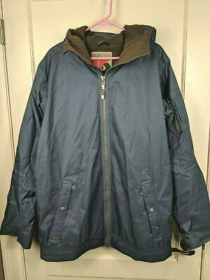 BURTON DryRide Bomber Style Groucho Navy Hooded Snowboard Jacket Mens Size: L