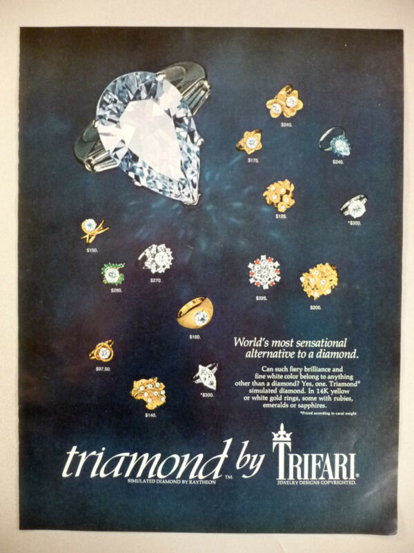 Triamond-Simulated Diamond by Raytheon PRINT AD - 1972 ~ Trifari Jewelry Designs