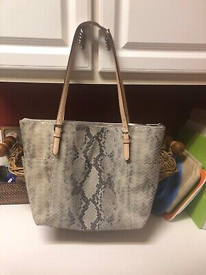 Michael Kors Gray Snakeskin Handbag With Silver And Nude Details