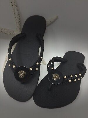 Havaianas Flip Flops With Swarovski Crystals & Versace Medusa Button Sz 9/10 NWT