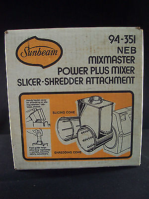 NEW Sunbeam Mixmaster Power Plus Mixer Slicer-Shredder Attachment 94-351