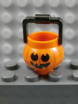 LEGO PUMPKIN BUCKET ~ Orange Halloween minifigure Jack-o-Lantern Trick or Treat