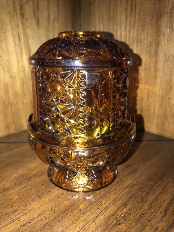 Vintage Indiana Glass Fairy Lamp Light Candle Holder Stars & Bars Amber