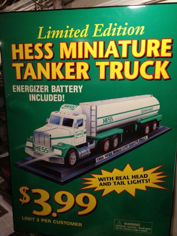 RARE HUGE 1998 Mini Hess Truck Store Display Sign HUGE
