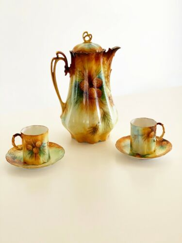 BEAUTIFUL ROSENTHAL CHOCOLATE POT WITH 2 CUPS & 2 SAUCERS Antique Hand Painted
