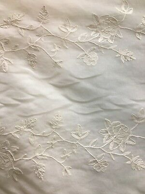 IVORY FLORAL EMBROIDERED 100% COTTON VOILE FABRIC (44 in.) BTY