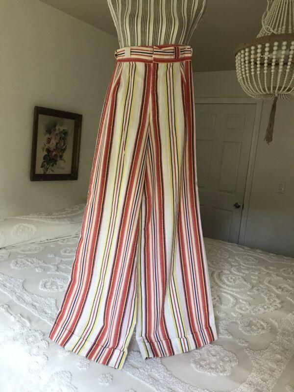 Vintage 1960s Womens Seersucker Pants Bright Stripe Mod Disco High Waist Wide