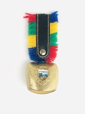 Vtg German Brass Cow Bell Enameled Crest Leather Strap Keychain With No Ring ](Cowbell Keychain)