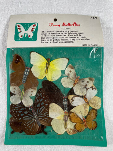 Vintage Pressed Butterflies 12ct Craft Supplies Real Butterflies Taiwan - $9.99