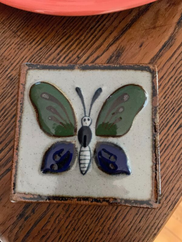 """4"""" x 4"""" Vintage Baked Blue Green Gray Glaze Butterfly Art Wall Tile Mexico Tile"""