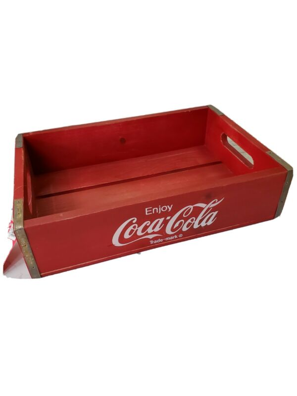 Coca-Cola Wooden Red Soda Pop Crate Carrier Box NO CUBBIES