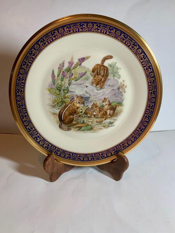 1976 Lenox Boehm Annual Ltd Woodland Wildlife Chipmunks Plate Cobalt & Gold